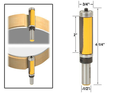 "2"" Flush Trim Top and Bottom Bearing Router Bit - 1/2"" Shank - Yonico 14134"