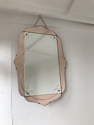 Art Deco Mirror Pink Mirror With Chain Tinted Pink Mirror Lovely Panel Mirror