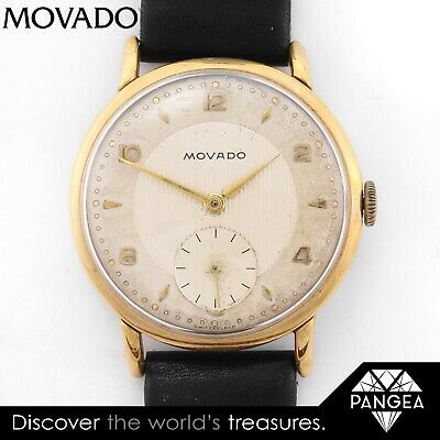 Vintage 50s Movado Gold-Plated Stainless Steel White Dial 34.50mm Watch Cal. 125