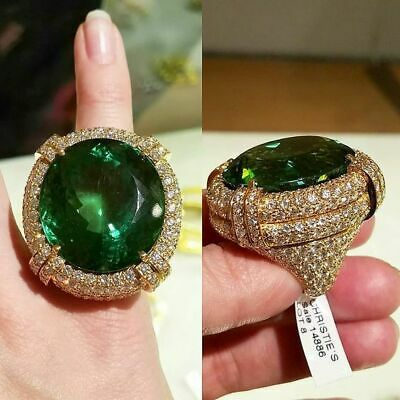 Gorgeous 18K Gold Plated Huge Emerald Jewelry Wedding Cocktail Party Ring Sz6-10