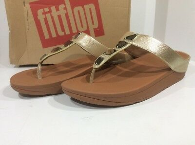 1f4d35ca0989e8 FitFlop Roka Toe- Thong Women s Size 11 Gold Leather Slip On Sandals X14-934