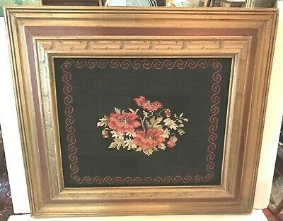 "Vintage Rose Bouquet Finished and Framed Large Needlepoint 15.5 "" x 12.5 """
