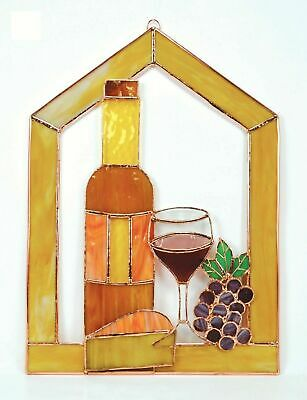 Gift Essentials Small Wine w/ Cheese & Grapes Stained Glass Steeple Window Pane