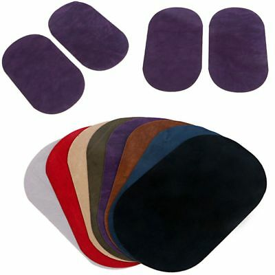 2Pcs DIY Sewing Applique Suede Leather Iron-on Oval Elbow Knee Patches Repair