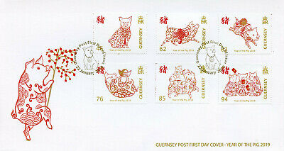 Guernsey 2019 FDC Year of Pig 6v Set Cover Chinese Lunar New Year Stamps