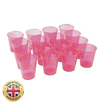 36 x 30ml 3cl Plastic Shot Glasses Jelly Shot Cups Pink Silver Glitter Hen Party