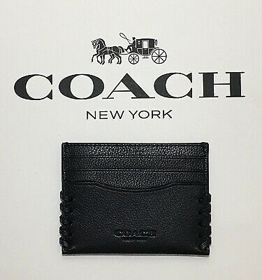 9e7896ed NEW! AUTHENTIC! COACH Black Slim Card Case Baseball Stitch F22370 ...