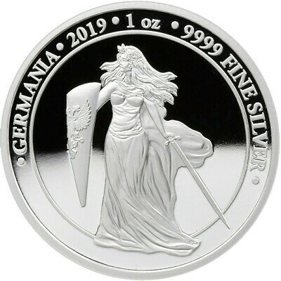 2019 1 Oz PROOF Silver Germany 5 Mark GERMANIA Coin.
