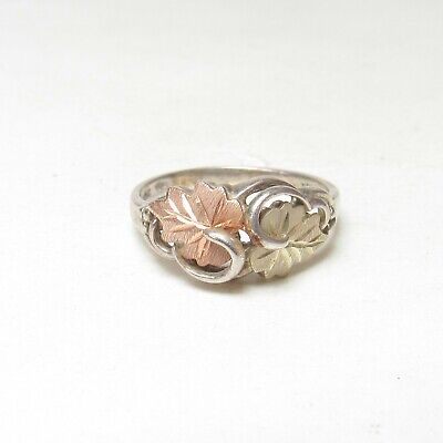 Estate Sterling Silver, 12K Yellow And Rose Gold Leaf Ring