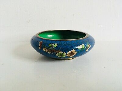 Vintage Chinese Cloisonne Pin Dish Blue Floral