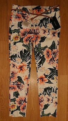 3d7a4c128 BNWT Womens Zara tropical print cigarette pencil tapered trousers size 8 /  10.