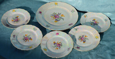 Czechoslovakian  China - PEARLISED LUSTRE  PART TEA  SET WITH FLORAL CENTRE