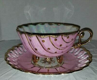Huge Oversize Rare Footed Pierced Edge Pearlized Cup Saucer