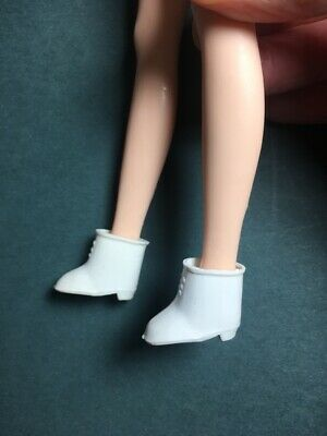 Vintage white plastic ankle boot shoe fit Sindy Penny Brite doll ShimmyShim