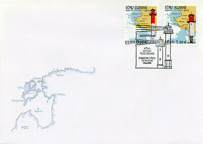 Estonia 2014 FDC Soru Leading Light Lighthouses 2v Set Cover Architecture Stamps