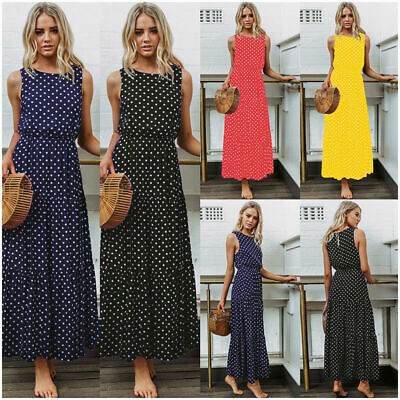 4046df3f0 Womens Summer Beach Sleeveless Polka Dot Maxi Dress Cocktail Party Long  Sundress