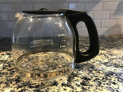 Mr Coffee 12 Cup Glass Replacement Pot Carafe for Coffee Maker Black Handle Lid