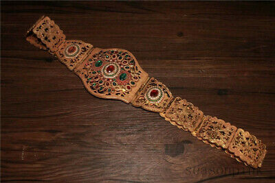 Chinese Antique Tibetan Custom Copper Plated Inlaid Gemstone Belt Decor Collect