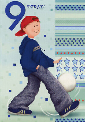 Boy Bouncing White Ball Designer Greetings Age 9 9th Birthday Card For