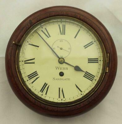 "Rare Miniature Antique English Mahogany 8 Day 7"" Fusee Dial Clock Webb Sandgate"