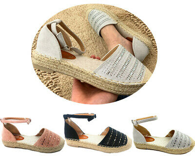 New womens flat closed toe sandals comfy espadrilles ankle strap holiday shoes s