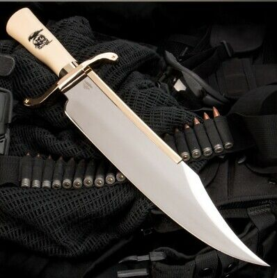 Gil Hibben Expendables Bowie Hunting Knife With Leather Sheath