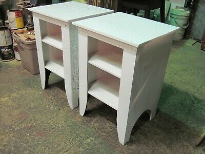 Pair of Primitive-Rustic End Tables / Night Stands with Crackle Paint