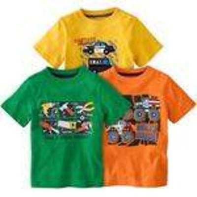 Boys Jumping Beans 2 Pc Green & Orange Golf Dog Short Sleeve Shirts-sz 6/9 mths