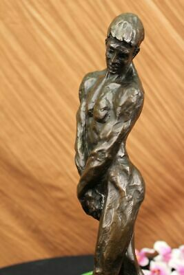 Signed Rodin Abstract Modern Art Nude Male 100% Solid Bronze Sculpture Figure