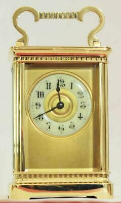 Antique French 8 Day Ornate Corniche Timepiece Carriage Clock Serviced Cleaned