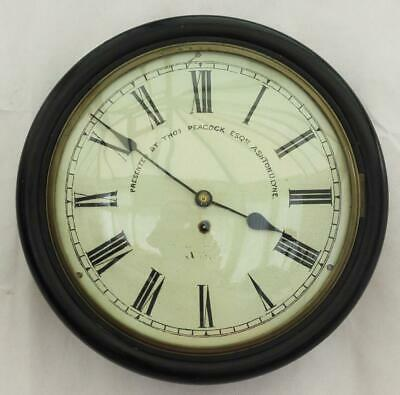 Antique English Ebonised 8 Day Fusee Dial Railway Clock Convex Glass Cast Bezal