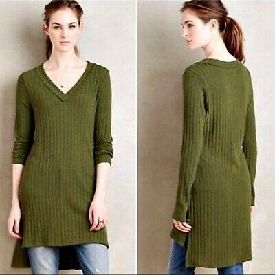 5bb4c33d42744d Anthropologie Deletta Olive Green Long Sleeve Rib Knit Hi Low Tunic Top XS