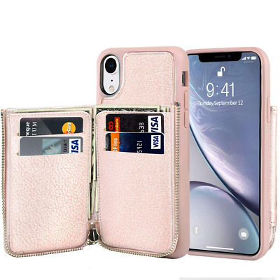 LAMEEKU Wallet Zipper Case for Apple iPhone XR, 6.1-Inch, Protective Leather Cre