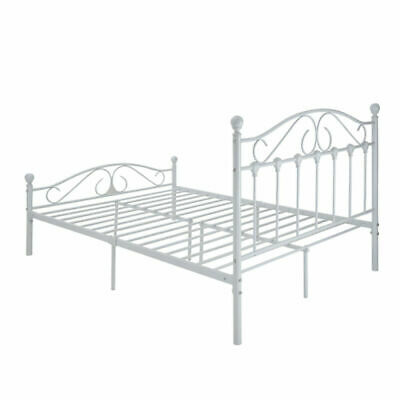 Vintage Metal Bed Frame In Ivory Finish 4ft6 Double Size Bedroom Furniture