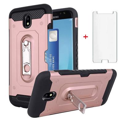 Samsung Galaxy J7 Pro J730G Wallet Phone Case with Tempered Glass Screen Protect