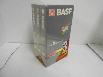 BASF 120 - 3 Pack 6 HOUR VHS Tapes - Brand New