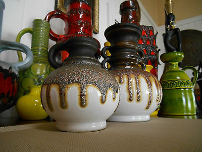 2 1960's fat lava vases, vintage FOHR West German pottery, mid century modern