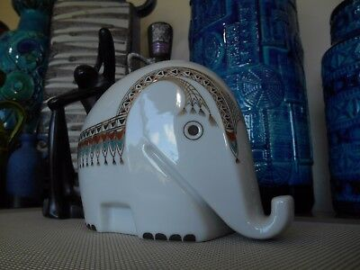 A 1970's Elephant, vintage boho West German pottery, abstract mid century modern