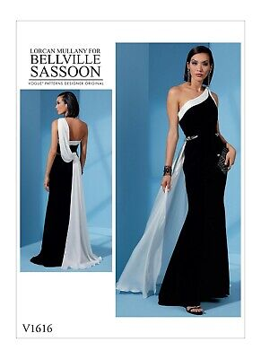 V1616 Sewing Pattern Bellville Sassoon Formal Prom HoCo One Shoulder Dress Gown