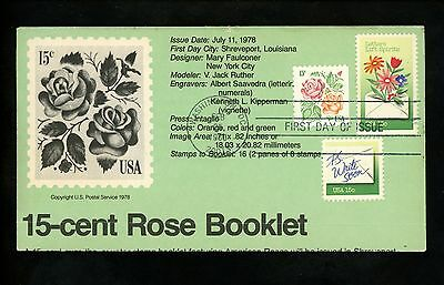 Ranto Cachet US FDC #1807-1808 on 1737 Letter Writing Rose flower booklet 1980