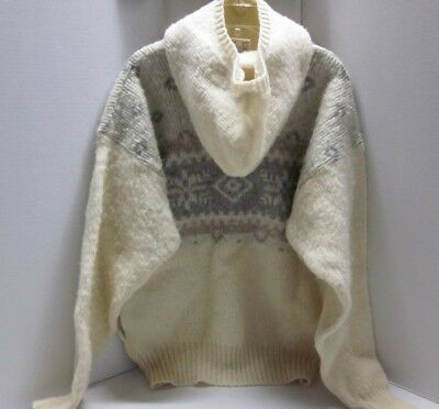 Vtg HILDA Ltd Icelandic made %Wool Hoodie Hooded Sweater Pullover Nordic  Fuzzy M e55d8e0a5