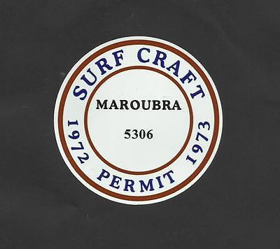 """MAROUBRA 1972-1973 SURFBOARD PERMIT"" Sticker Decal SURFING SKATEBOARD SURF"