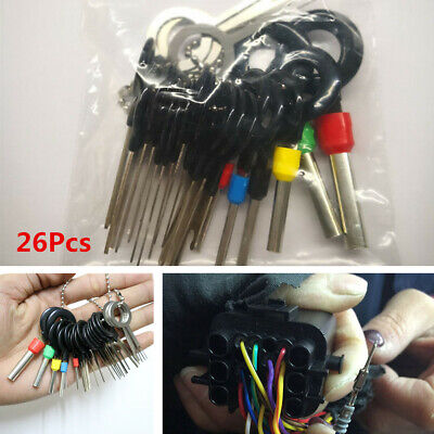 26Pcs Car Wire Terminal Removal Tool Wiring Connector Pin Extractor Puller Kit