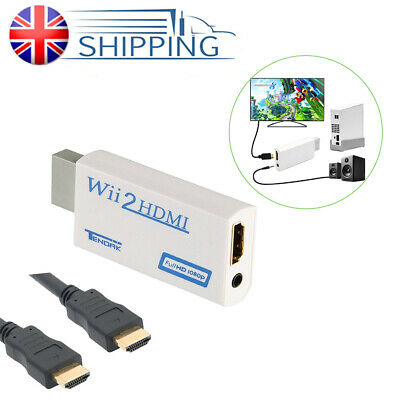 New White Converter Adapter Upscaling+HDMI Cable For WII to HDMI 1080P HD Video