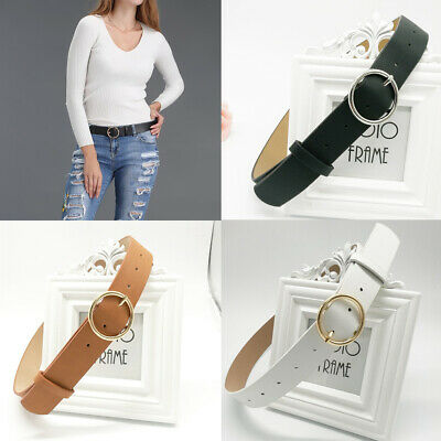 Women Lady Classic Gold Round Buckle Waist Belt Faux Leather Jeans Waistband