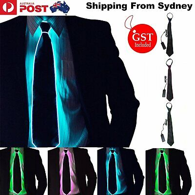 Men Light Up LED Luminous Tie Flashing Striped Glowing EL Necktie Club Decor AU