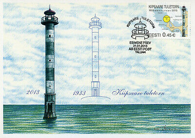 Estonia 2013 MAXI Kiipsaare Lighthouse 1v Cards Lighthouses Architecture Stamps