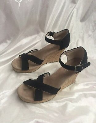 3584139f45b TOMS Womens Sandals Size 9.5 Cork Wedge Black Canvas Strappy Open Toe Shoes