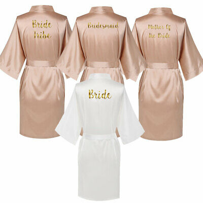 Satin Silk Wedding Bridal Robes Gown Bride Bridesmaid Mother Dressing Champagne