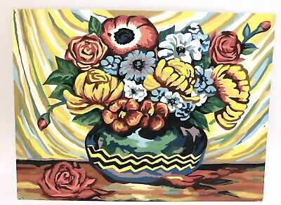 "Vintage Paint By Number Floral Study Roses Flowers Vase Bouquet 12"" X16"""